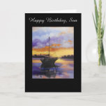 """Sail boat Birthday card for Son<br><div class=""""desc"""">From an original painting by Dian,  created into a Father or son's Birthday Card... ... .. A beautiful image of a sailboat against a sunset,  lovely and inspiring to view and so appropriate for a Dad or Son. Inside there is a beautiful birthday saying.</div>"""