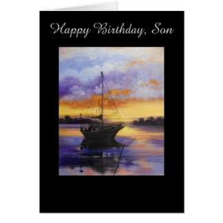Sail boat Birthday card for Son