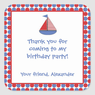 Sail Boat Birthday Party Favor Sticker Red Blue