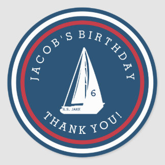 Sail Boat Birthday Stickers Custom Color and Text