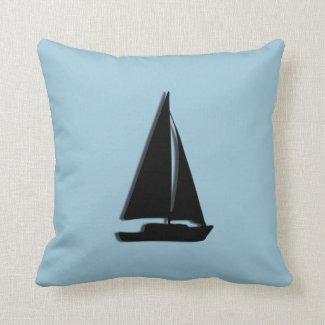 Sail Boat Blue Pillow