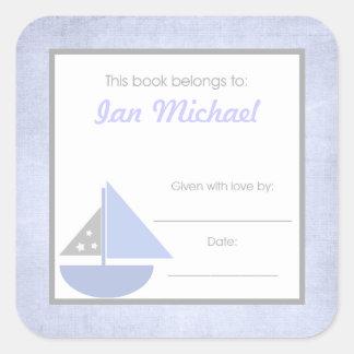 Sail boat Book Plate BOOKPLATE Blue Gray Boy