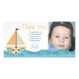 Sail Boat Boy's Birthday Party Thank You Photocard Card