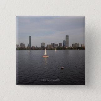 Sail Boat, Charles River, Boston, MA Button