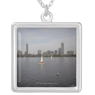 Sail Boat, Charles River, Boston, MA Silver Plated Necklace