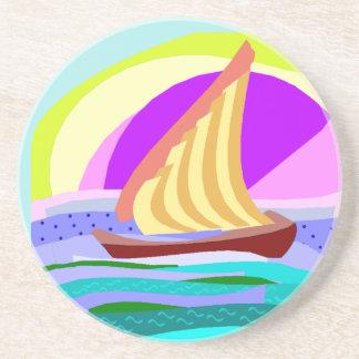 Sail boat, colorful rainbow sky and sea coaster