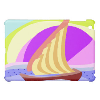 Sail boat, colorful rainbow sky and sea iPad cover