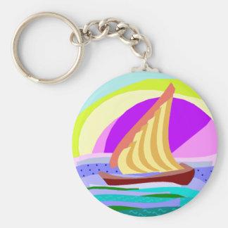 Sail boat, colorful rainbow sky and sea keychain