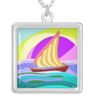 Sail boat, colorful rainbow sky and sea necklace