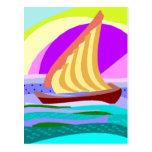 Sail boat, colorful rainbow sky and sea postcard