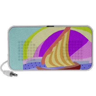 Sail boat, colorful rainbow sky and sea speaker