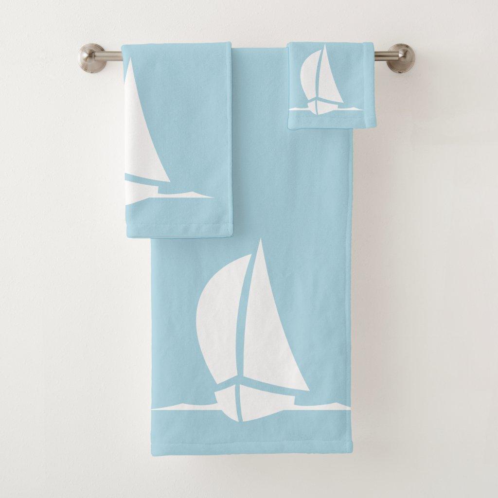sail boat & compass in  light blue bath towel set