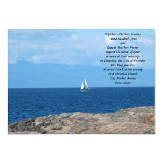 Sail Boat in Deep Blue Water Wedding Card