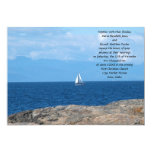 Sail Boat in Deep Blue Water Wedding Personalized Invite
