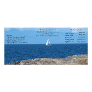 Sail Boat in Deep Blue Water Wedding Programs