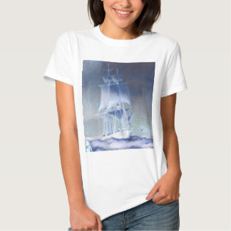 Sail boat in light colors on ocean t shirt