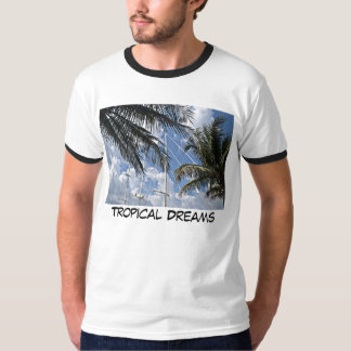 Sail boat mast through the palms, Tropical Dreams T-Shirt