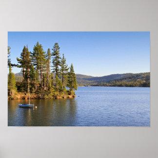 Sail Boat, Mountain Lake, Sunset Poster