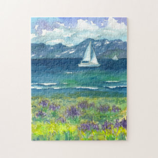 Sail Boat Mountain Lake Watercolor Wildflowers Puzzle
