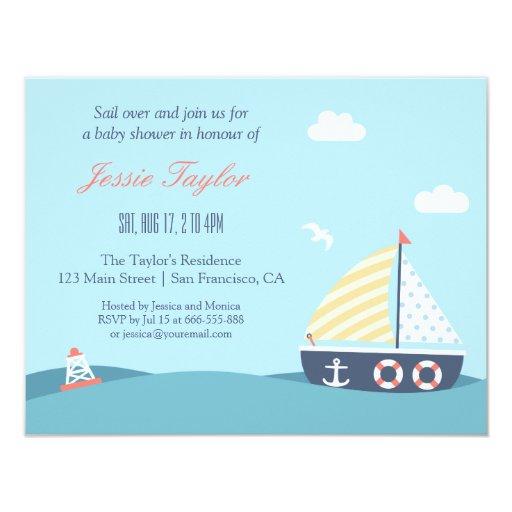 sail boat nautical theme baby shower invitations zazzle