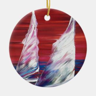 sail boat ocean sailing ceramic ornament