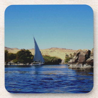 Sail boat on the blue Nile in Egypt photo Beverage Coaster