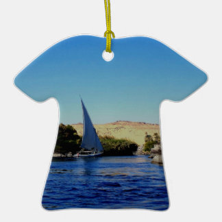 Sail boat on the blue Nile in Egypt photo Christmas Tree Ornaments