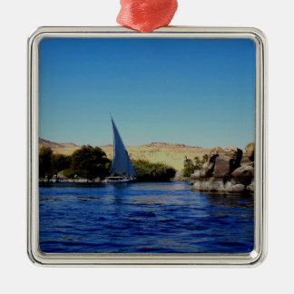 Sail boat on the blue Nile in Egypt photo Christmas Ornaments