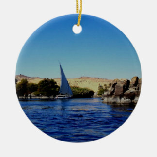Sail boat on the blue Nile in Egypt photo Ornaments