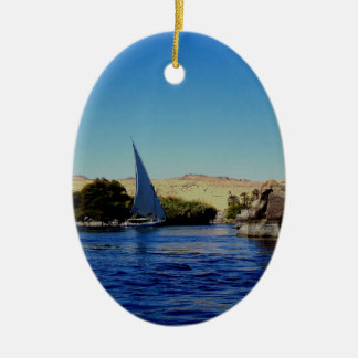 Sail boat on the blue Nile in Egypt photo Christmas Tree Ornament