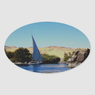 Sail boat on the blue Nile in Egypt photo Oval Sticker