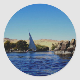 Sail boat on the blue Nile in Egypt photo Round Sticker