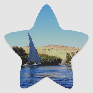 Sail boat on the blue Nile in Egypt photo Sticker