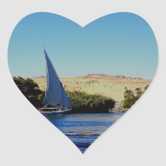 Sail boat on the blue Nile in Egypt photo Heart Sticker