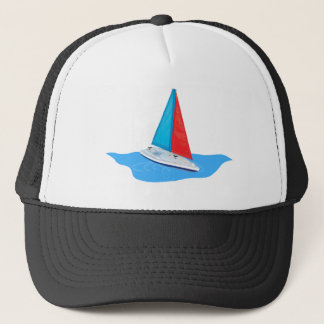 Sail boat on the water trucker hat
