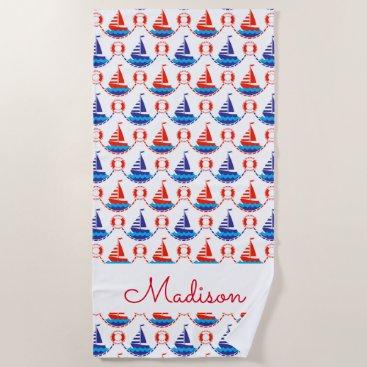Beach Themed Sail Boat Pattern Beach Towel