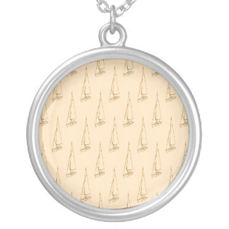 Sail Boat Pattern. Brown and Tan. Round Pendant Necklace