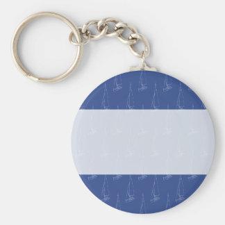 Sail boat pattern. Dark Blue. Basic Round Button Keychain