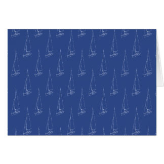 Sail boat pattern. Dark Blue. Card