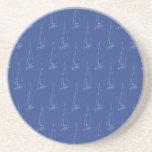 Sail boat pattern. Dark Blue. Drink Coaster