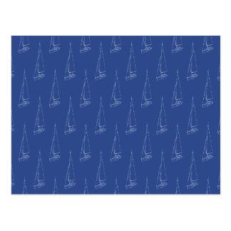 Sail boat pattern. Dark Blue. Postcard