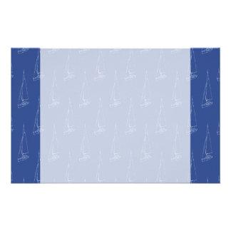 Sail boat pattern. Dark Blue. Stationery