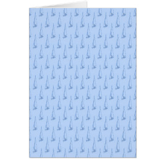 Sail boat pattern. Pale Blue and Blue. Card