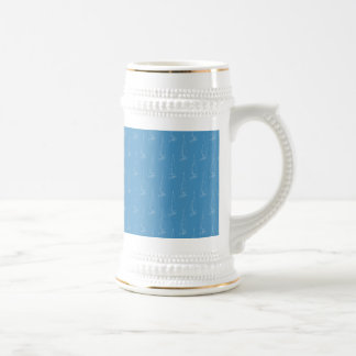 Sail boat pattern. Turquoise Blue. 18 Oz Beer Stein