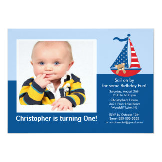 Sail Boat Photo Birthday Invitation