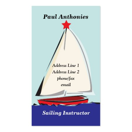 Whimsical Sail Boat Illustration Sailing Instructor Business Cards Template