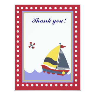 Sail Boat Red border Thank you note flat 4.25x5.5 Paper Invitation Card
