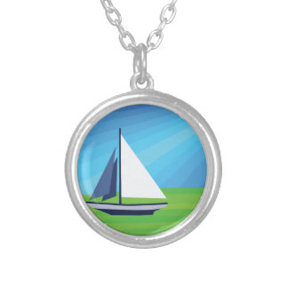 Sail Boat Round Pendant Necklace