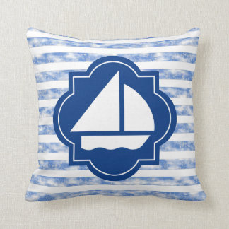 Sail Boat Silhouette With Nautical Blue Stripes Pillows