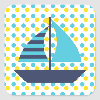 Sail Boat Square Sticker